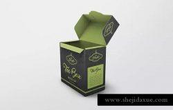 茶叶品牌纸盒包装外观设计样机模板 Tea Box Mock-Up