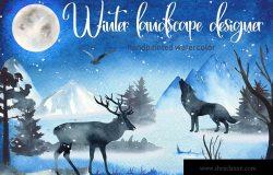 水彩手绘冬季景观剪贴画设计素材