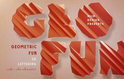 创意几何3D立体效果英文字母字体PNG素材