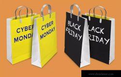 网络星期一&黑色星期五促销日购物袋设计样机02 Business days mockup