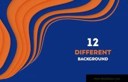 抽象3D波浪条纹橙蓝色PNG背景图素材