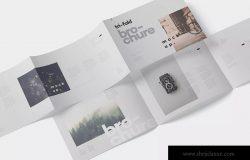 横版设计三折页宣传单效果图样机 Tri-Fold Brochure Mockup in Din A4 A5 A6 Landscape