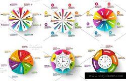 3D立体化信息图表矢量设计模板 Set of 3D Diagram Infographics