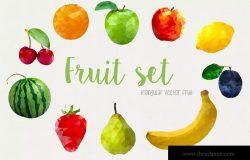 立体几何界面水果图形设计素材 Geometric Fruit Set Pro