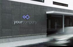 公司建筑Logo标志设计效果图样机模板 Company Building Sign Mockup