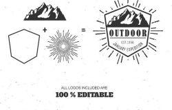 山脉户外复古Logo设计套装 Mountain Outdoor Vintage Logo Kit