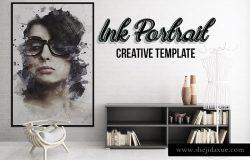 创意艺术墨水照片效果PS动作 Ink Portrait – Creative Template