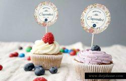 甜品蛋糕品牌标签样机模板