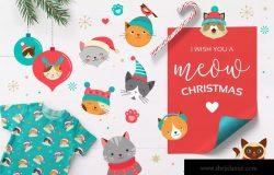 可爱的卡通圣诞猫系列手绘剪贴画 Cute Christmas Cats Bundle