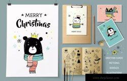 斯堪纳维亚风格快乐圣诞涂鸦元素手绘插画 Merry Christmas greetings & doodles