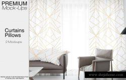 清新、简约的枕头抱枕和窗帘花纹设计展示模型下载PSD