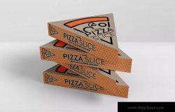 三角形披萨切片盒包装样机 Pizza Slice Box Packaging Mockup