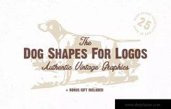 宠物狗形状剪影Logo设计素材包 The Dog Shapes For Logos Pack
