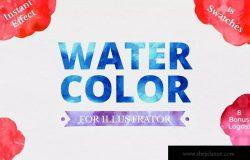 水彩艺术效果AI图层样式 Watercolor for Illustrator