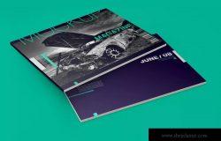 A4时尚杂志宣传册样机模板 Horizontal A4 Magazine Catalog Mockup