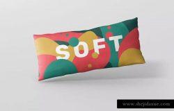 时尚多彩长矩形沙发卧室枕头样机模板 Pillow Mockup – Long