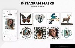 100款Instagram社交贴图照片效果PSD智能对象图层 100 Instagram Masks PSD Templates