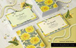 创意多用途柠檬黄野野玫瑰名片PSD模板