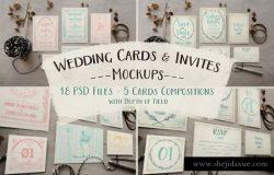 复古质朴的婚礼请柬/贺卡样机 Rustic Wedding Invitation Mockup
