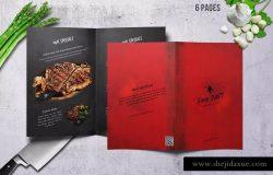 高档餐厅双折页菜单设计PSD模板 Craft Food Bifold Menu – A4 & US Letter.