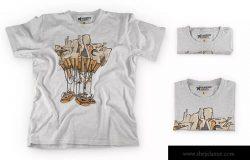 时尚印花T恤演示服装样机 Heather T-Shirt Presentation Mockup