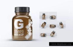 美容药品玻璃罐子瓶子样机 Pill Cosmetics Glass Bottle Mock-Up
