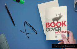 简装书籍封面设计样机模板 Book Cover Mockups Scene