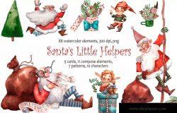 圣诞老人的小帮手水彩插画素材