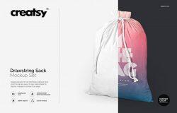 拉绳袋布袋样机模板集合 Drawstring Sack Mockup Set