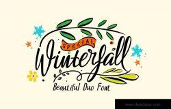 漂亮的手写英文字体&装饰元素组合 Winterfall Duo Typeface