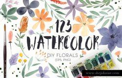 DIY水彩花叶系列元素合集 123 DIY Watercolor Flowers (EPS,PNG)