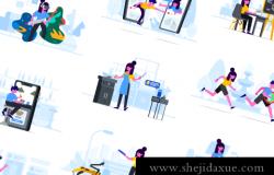 Web网站移动APP定制的独特矢量插画素材