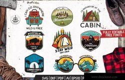 野营冒险/户外运动/旅游品牌Logo设计模板 Camping Adventure Badges, Retro Travel Logos Set