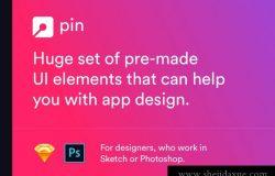 12一组庞大的按钮切换器标签条形图弹出窗口图表预制UI元素设计素材Pin UI Kit
