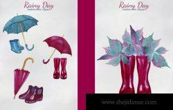 夏季水彩手绘雨伞雨靴PNG剪贴画素材 Rainy Day Watercolor Clipart