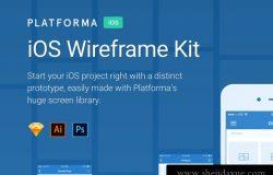 14蓝色简洁实用移动手机APP原型设计终极线框UI套件Platforma for iOS
