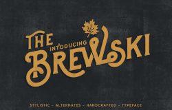 手拉复古风格啤酒印刷展示衬线英文字体Brewski Brewery Typeface
