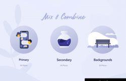 时尚现代网站应用程序矢量插图设计素材