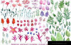 热带水彩花卉手绘剪贴画PNG素材 Tropical Abstract Flowers