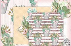 多肉植物主题水彩数码纸图案设计素材