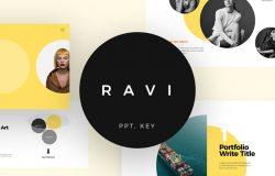 多功能时尚设计现代商务企业公司主题演讲幻灯片演示文稿Ravi Presentation Template