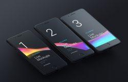 苹果iphone手机显示设备PSD贴图样机模型Animated Mockups Black