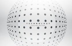 科技感高清背景震撼粒子球形波纹未来连接互联网大数据AI矢量设计素材模板1930