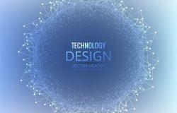 蓝色科技感高清背景震撼粒子球形波纹未来连接互联网大数据EPS矢量设计素材模板7561