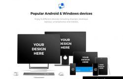 高品质时尚手机电脑页面展示显示设备贴图样机模型91x Android