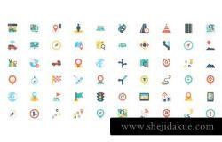 平面地图和导航图标设计 120 Flat Maps and Navigation Icons