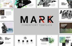 强大且富有创意的时尚现代商务主题演讲幻灯片演示文稿Mark03 Powerpoint