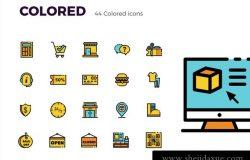 8电子商务购物彩色填充轮廓矢量图标集Picas Ecommerce Icon Set
