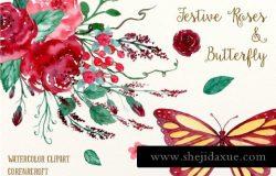 水彩玫瑰蝴蝶插画 Watercolor Festive Roses Butterfly