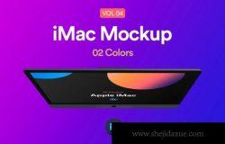 iMac Retina样机顶视图UI样机展示模型mockups